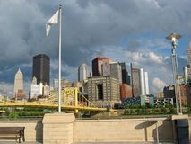 Pittsburgh, Downtown 01. A shot of the Pittsburgh skyline featuring the Roberto Clemente Bridge, Gulf Building, U.S. Steel Tower, One Mellon Center, Free Markets royalty free stock images