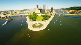 Pittsburgh downtown aerial view stock video footage