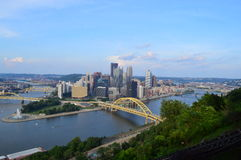 Pittsburgh Downtown and Fort Duquesne Bridge Royalty Free Stock Photo