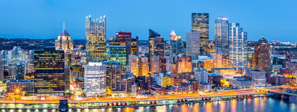 Free Pittsburgh Downtown Panorama At Dusk Stock Photography - 81242362