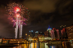 Pittsburgh downtown skyline at night with colorful firework Stock Images