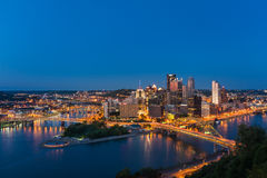 Pittsburgh downtown skyline at night, pennsylvania, USA Royalty Free Stock Photo