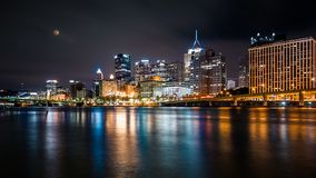Pittsburgh downtown skyline by night Royalty Free Stock Images