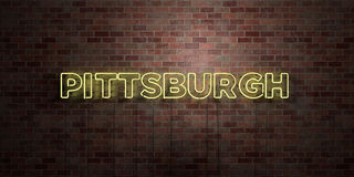 PITTSBURGH - fluorescent Neon tube Sign on brickwork - Front view - 3D rendered royalty free stock picture Stock Image