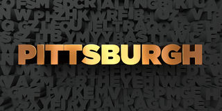Pittsburgh - Gold text on black background - 3D rendered royalty free stock picture Royalty Free Stock Image
