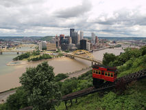 Pittsburgh Incline View. Pittsburgh Pennsylvania river view, incline railroad and skyline with storm clouds Stock Photos