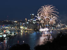 Pittsburgh linia horyzontu przy półmrokiem Zdjęcie Stock