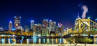 Pittsburgh miasta linii horyzontu wczesny poranek Obrazy Royalty Free