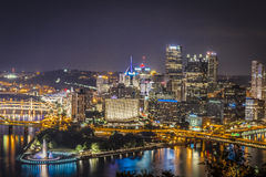 Pittsburgh na noite Foto de Stock