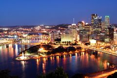 Pittsburgh by night. City of Pittsburgh by night stock image