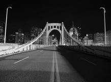 Pittsburgh Night Bridge Black and White Stock Image