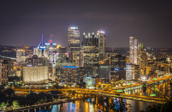 Pittsburgh at night Stock Images