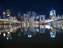 Pittsburgh Night Sky. Pittsburgh Pennsylvania waterfront and bridges late at night Stock Photo