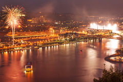 Pittsburgh North Shore at night. Night view of Pittsburgh North Shore during celebrations with fireworks stock photography