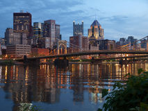 Pittsburgh and the Ohio River. Pittsburgh Pennsylvania and the Ohio River at dusk Stock Photo
