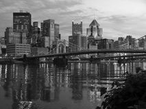 Pittsburgh and the Ohio River Black and White Royalty Free Stock Photo