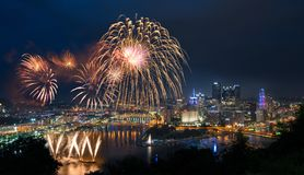 Fireworks over Pittsburgh for Independence Day royalty free stock photography
