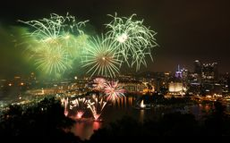 Fireworks over Pittsburgh for Independence Day royalty free stock photos
