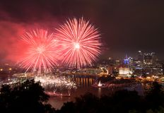 Fireworks over Pittsburgh for Independence Day stock images
