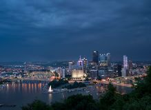 Cityscape of Pittsburgh on Independence Day royalty free stock photos