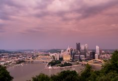Sunset and Cityscape of Pittsburgh from Mt Washington overlook royalty free stock image