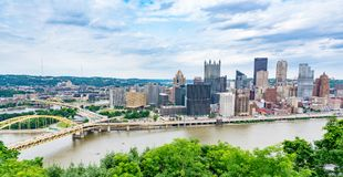 Pittsburgh, Pennsylvania Skyline from the Grandview Overlook Royalty Free Stock Image