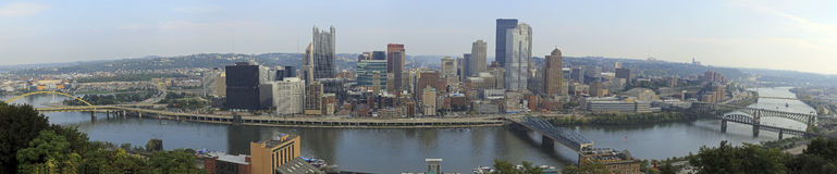 Pittsburgh Panorama. Sunny day with blue sky and white clouds Stock Photo