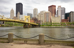 Pittsburgh Pennsylvania Downtown City Skyline Allegeny River Stock Photo