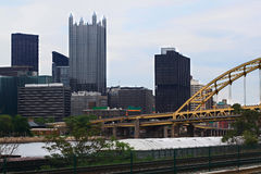 Pittsburgh Pennsylvania Downtown skyline in cloudy afternoon Stock Image