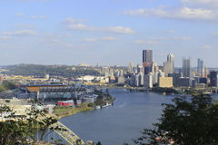 Pittsburgh Pennsylvania and Heinz Field. Looking down from the lookout point on a fall day you can see beautiful downtown Pittsburgh along with Heinz Field on stock photo