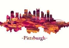 Pittsburgh Pennsylvania horisont i rött stock illustrationer
