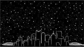 Pittsburgh Pennsylvania horisont USA Detaljerad kontur, lägenhetdesign, härlig skugga, två broar, svart färg, spegel stock illustrationer