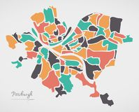Pittsburgh Pennsylvania Map with neighborhoods and modern round vector illustration