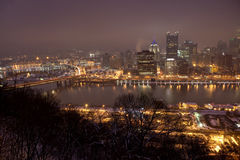 The Pittsburgh, Pennsylvania skyline at night Stock Photos