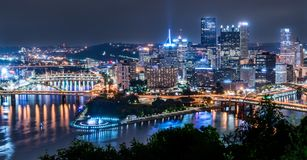 Pittsburgh, Pennsylvania Skyline from Point of View Park. PITTSBURGH, PA - JUNE 16, 2018: Pittsburgh, Pennsylvania skyline overlooking the Allegheny Monongahela stock photography