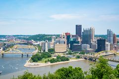 Pittsburgh, Pennsylvania Skyline from Point of View Park Stock Photo