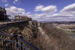 Pittsburgh, Pennsylvania, USA 3/15/2019 Part of McArdle Roadway leading up to Mt Washington. With the north shore in the background along with the Monongahela royalty free stock photo