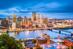 Pittsburgh, Pennsylvania, USA Skyline. On the river royalty free stock photo