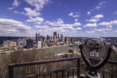 Pittsburgh, Pennsylvania, USA 3/15/2109 A view of downtown from the Grandview Overlook in Mt Washington royalty free stock photos