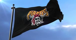 Pittsburgh Pirates flag, american professional baseball team, waving - loop. Flag of the team of the Pittsburgh Pirates, american professional baseball team stock video