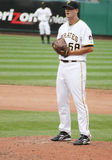 Pittsburgh Pirates pitcher Steven Jackson. Looks in for a sign Stock Photos