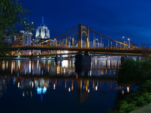 Pittsburgh Riverfront Night. Pittsburgh skyline and the Ohio River at night Royalty Free Stock Photography