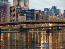 Pittsburgh's Downtown Waterfront. And landmark bridges Royalty Free Stock Images