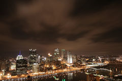 Pittsburgh's skyline at night Royalty Free Stock Photos