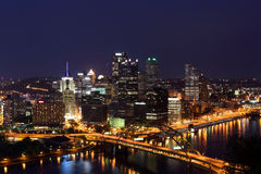 Pittsburgh's skyline from at night Royalty Free Stock Photography