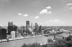 Pittsburgh Skyline. In Black and White Stock Photo