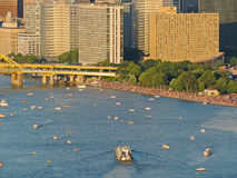 Pittsburgh Skyline and Boats Stock Image