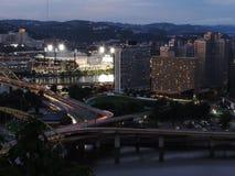 Pittsburgh skyline at dusk stock photography