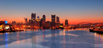 Pittsburgh Skyline at Night Royalty Free Stock Image