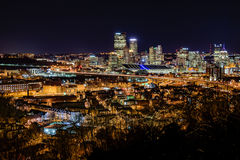 Pittsburgh Skyline at Night Stock Images